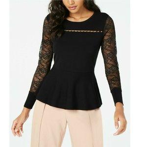 Thalia Sodi XL Black Sweater Lace Sleeve 4AB86